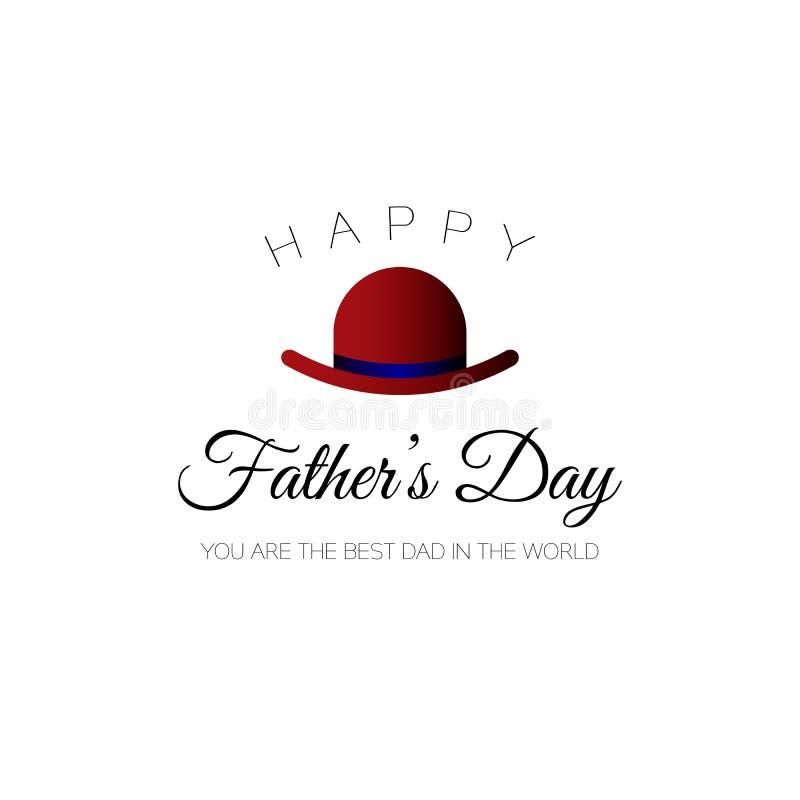 Lycklig dag för fader` s! Du är den bästa farsan i världen Hälsningkort för ferie med hatten vektor illustrationer