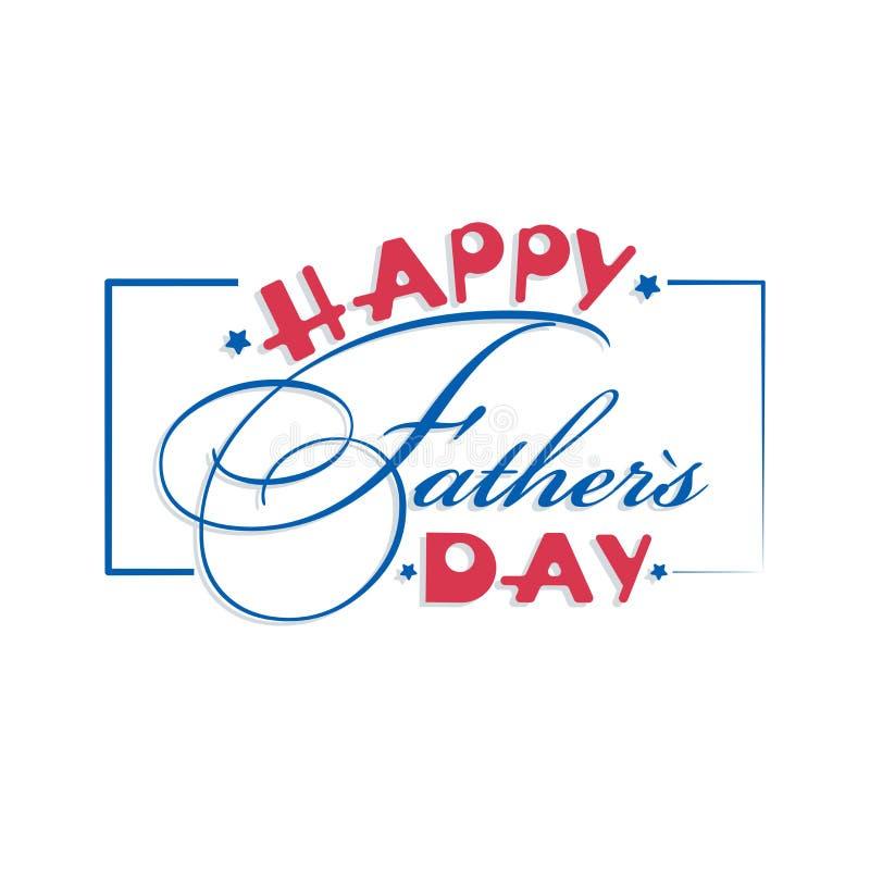 Lycklig dag för fader` s Ljust baner för kalligrafi Vektorbokstäver vektor illustrationer