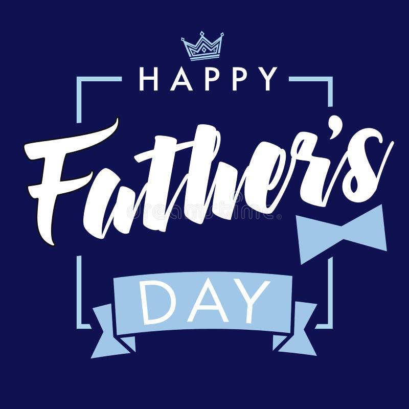 Lycklig dag för fader` s vektor som märker det marinblåa hälsningkortet vektor illustrationer