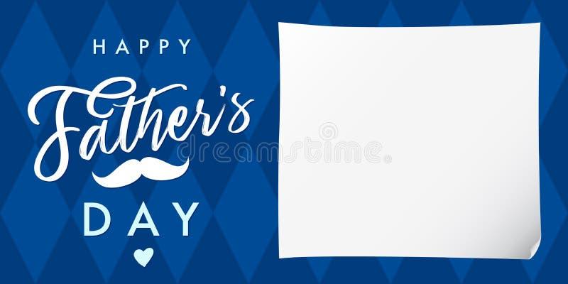 Lycklig dag för fader` som s märker det marinblåa banret stock illustrationer
