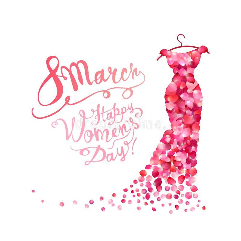 Lycklig dag för kvinna` s! 8 mars Klänning av rosa kronblad royaltyfri illustrationer