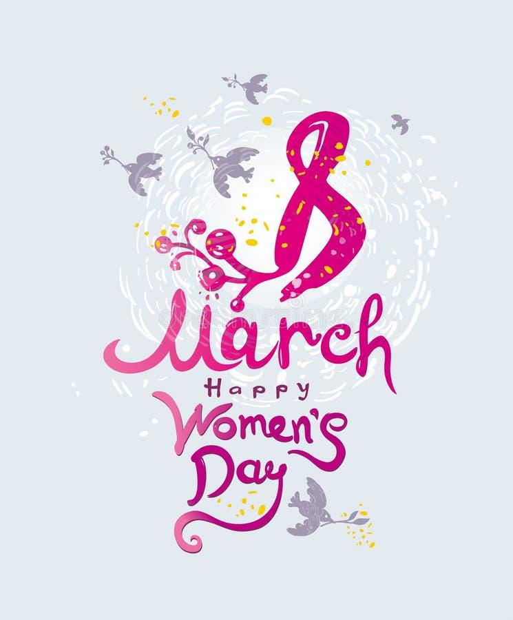 Lycklig dag för kvinna` s 8 mars Kvinnors kort för hälsning för dag gulligt med vårfåglar och blommor royaltyfri illustrationer