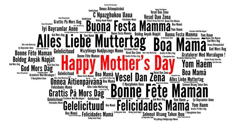 Lycklig dag för moder` s i olika språk royaltyfri illustrationer