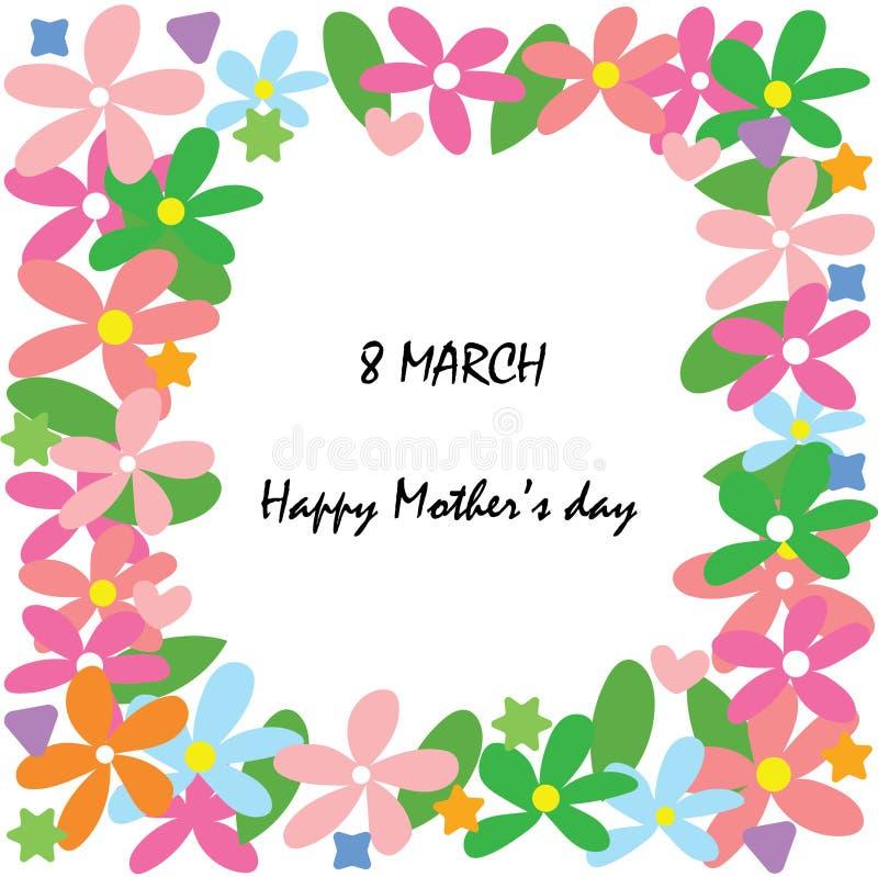 Lycklig dag för moder` s på 8 kortet för marsch vektor illustrationer