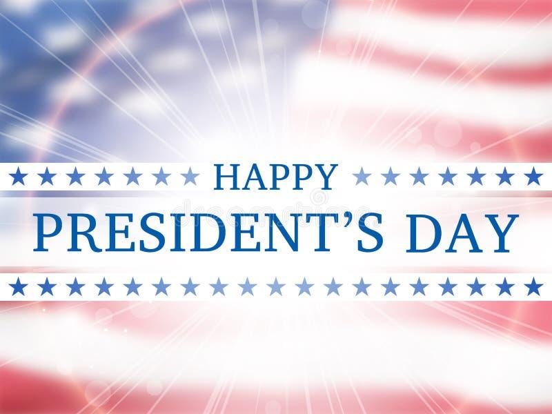 Lycklig dag för president` s - affisch med flygflaggan av Amerikas förenta stater vektor illustrationer