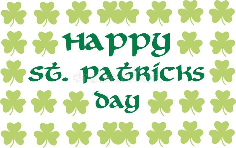 Lycklig dag för St Patrick ` s med växt av släktet Trifoliumbakgrund royaltyfri illustrationer