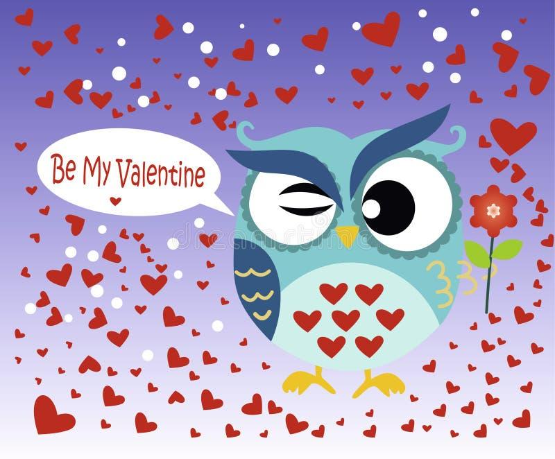 Lycklig dag för valentin` s! Kort för dag för valentin` s med den gulliga lägenhetblåttugglan med blomman på lutningblåttbakgrund stock illustrationer