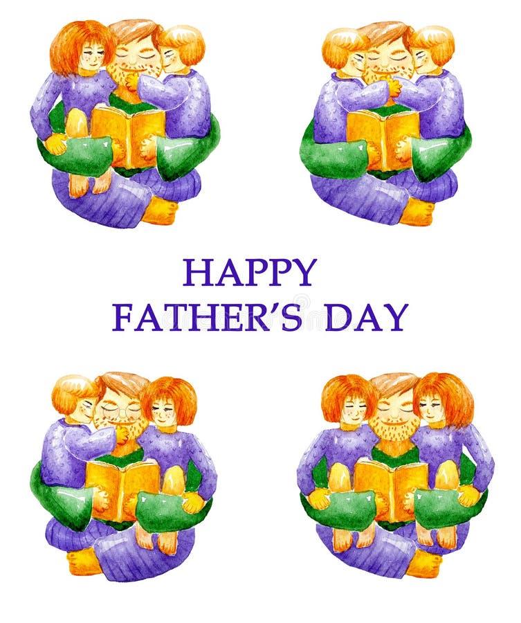 Lycklig dag f?r fader` s Fastställd samling för vattenfärg av farsan som kramar hans barn och läser dem en bok Barn är kopplar sa royaltyfri illustrationer