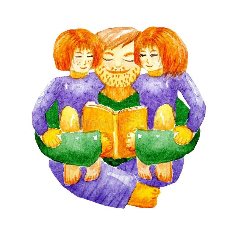 Lycklig dag f?r fader` s Vattenfärgillustrationen av fadern som kramar som är hans, kopplar samman dottern som läser dem en bok M vektor illustrationer