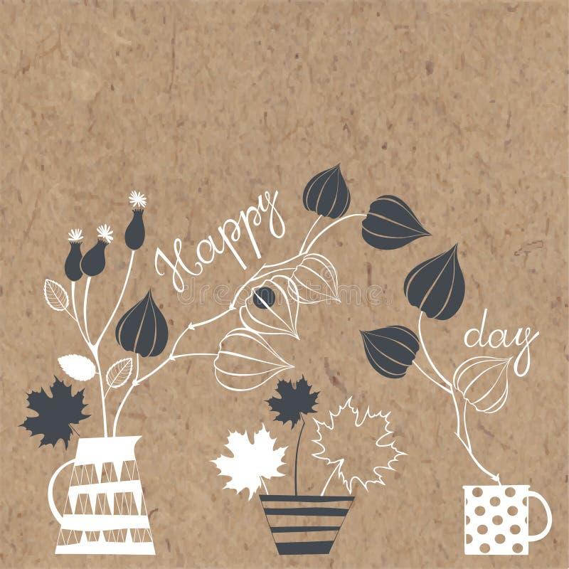 lycklig dag Vektorillustration med buketter på kraft papper flo vektor illustrationer