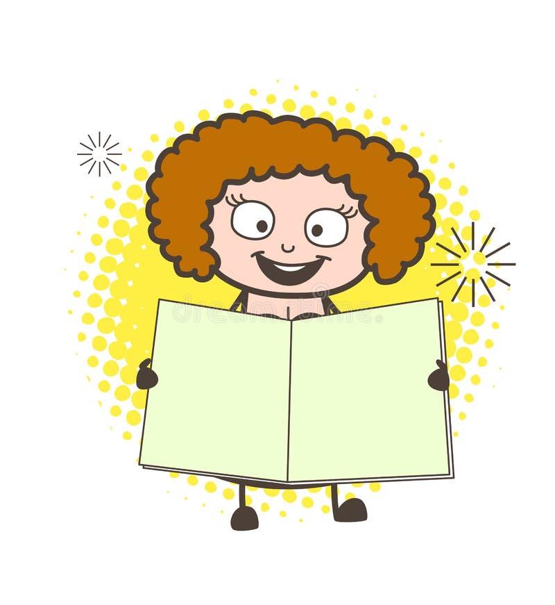 Lycklig dam Showing för tecknad film en tom anteckningsbokvektor royaltyfri illustrationer