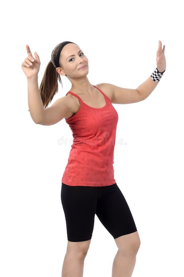 Lycklig dans för kvinna för konditiondansgrupp fotografering för bildbyråer