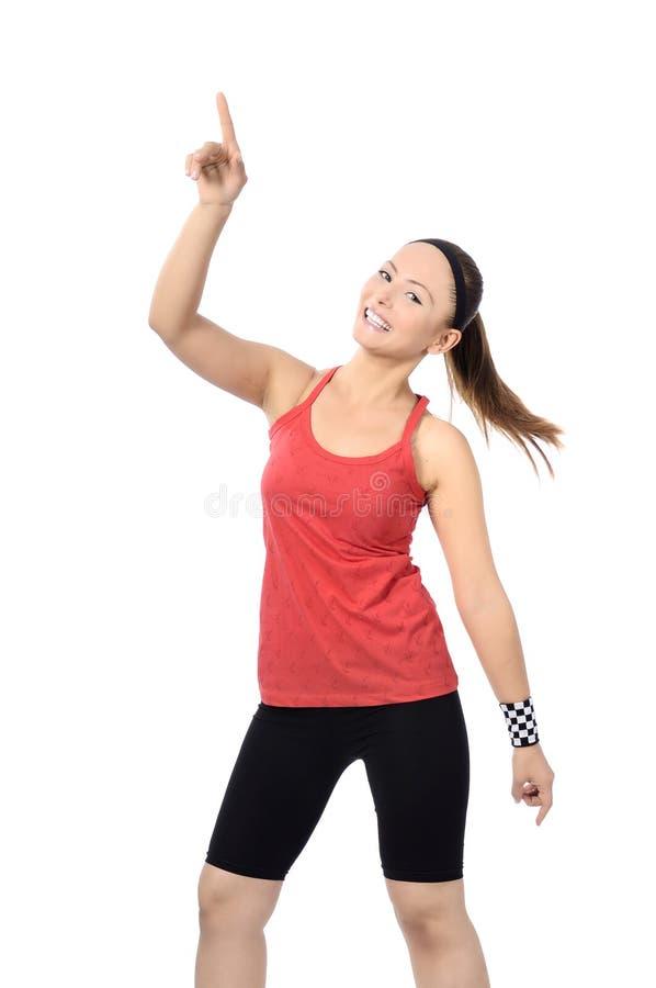 Lycklig dans för kvinna för konditiondansgrupp arkivfoto