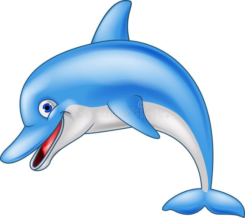 Lycklig delfintecknad film stock illustrationer