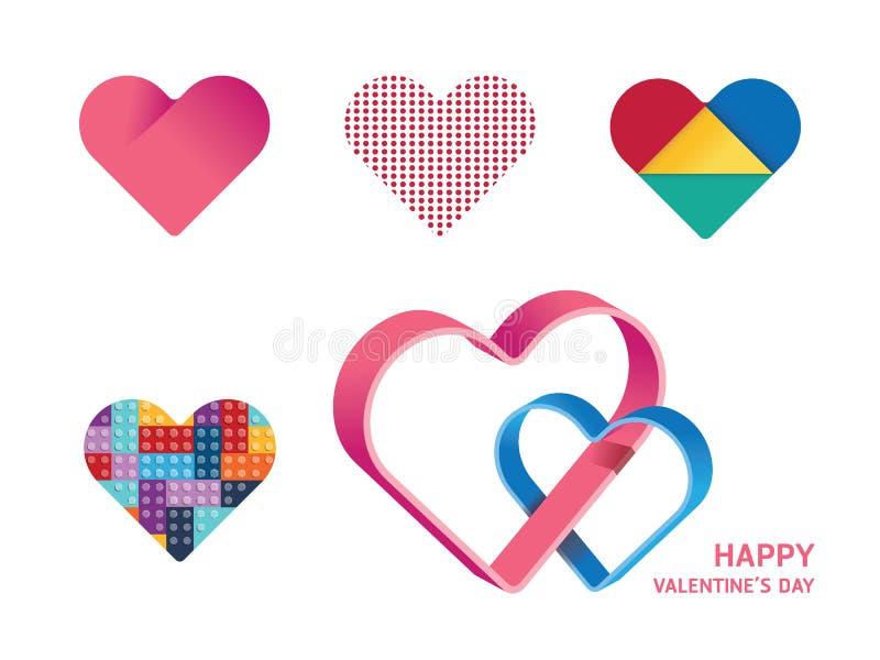 Lycklig design för begrepp för form för hjärta för valentindagvektor arkivbilder