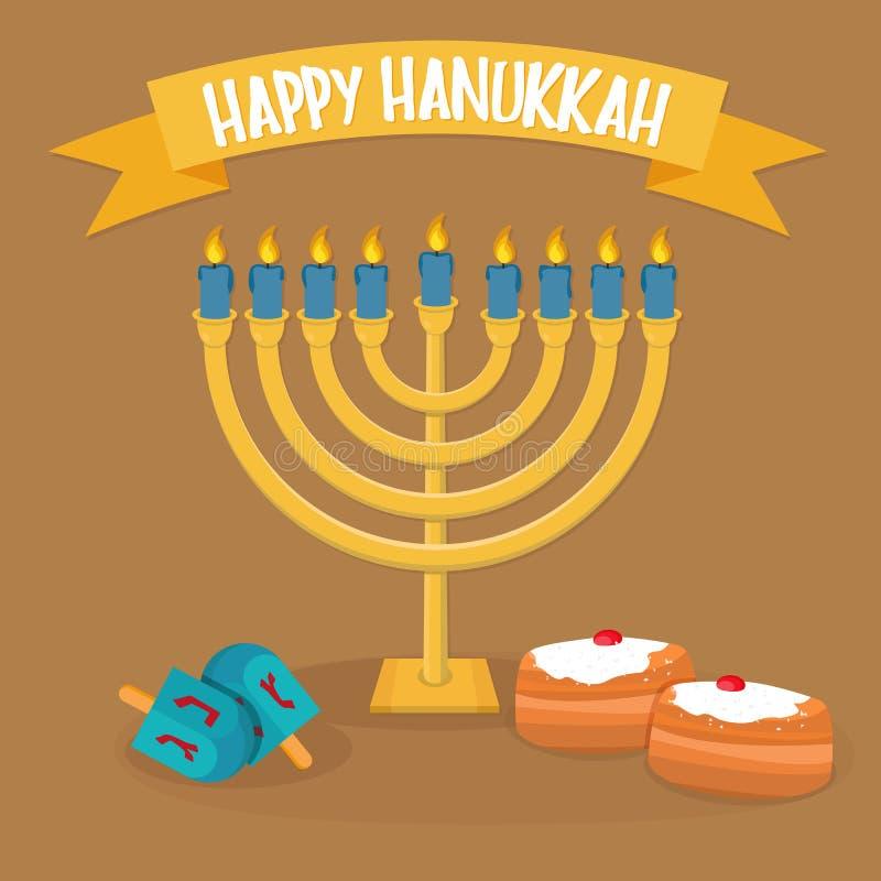 Lycklig design för Chanukkahhälsningkort hanukkah menora vektor illustrationer