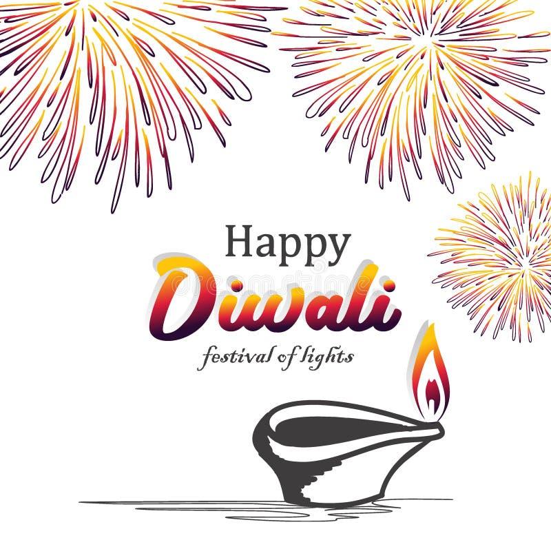 Lycklig design för Diwali vektorillustration med hand drog brännande diya och fyrverkerier Färgrik bakgrund för hinduisk gemenska vektor illustrationer
