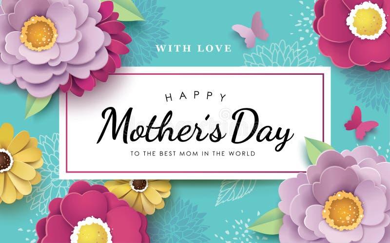 Lycklig design för hälsning för dag för moder` s stock illustrationer