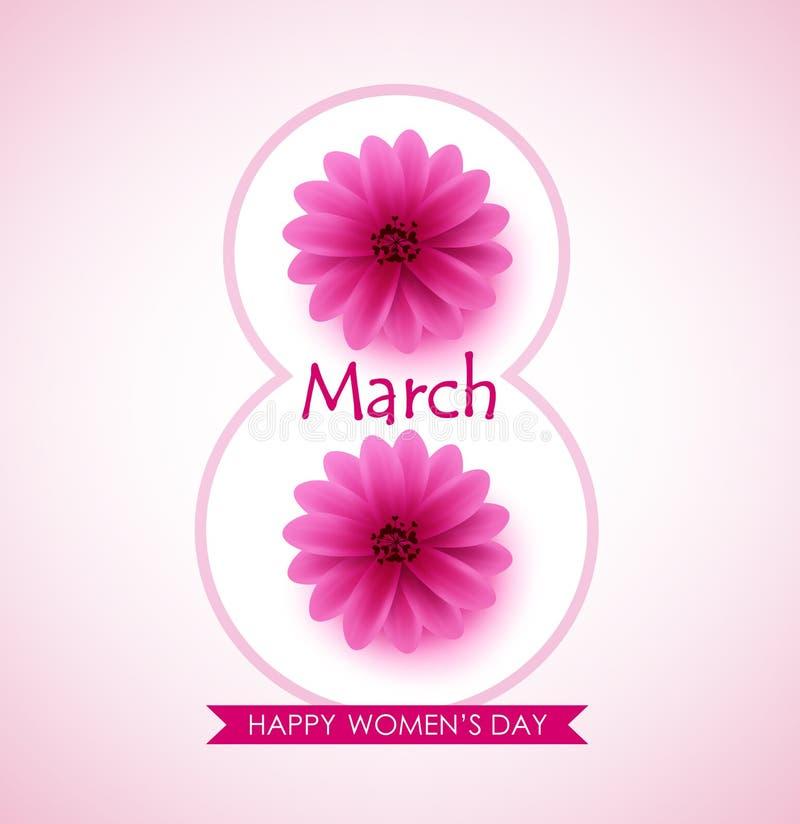 Lycklig design för hälsning för kvinnadagvektor med härliga rosa blommor vektor illustrationer