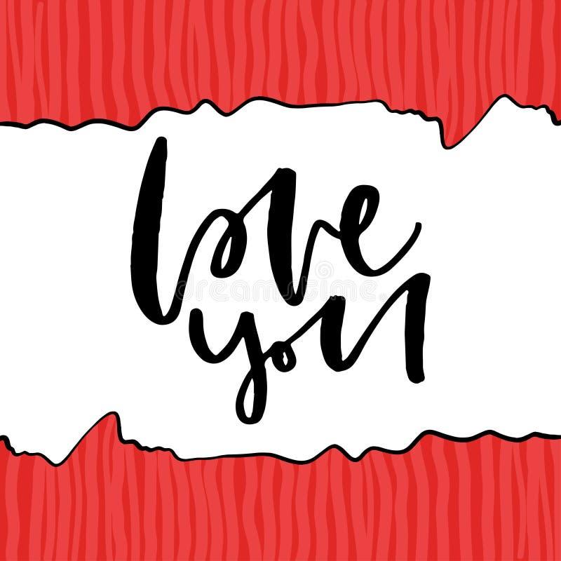 Lycklig design för kalligrafi för valentindagvektor Älska dig text Handwritting typografi för Sankt valentinhälsningkort med rött vektor illustrationer
