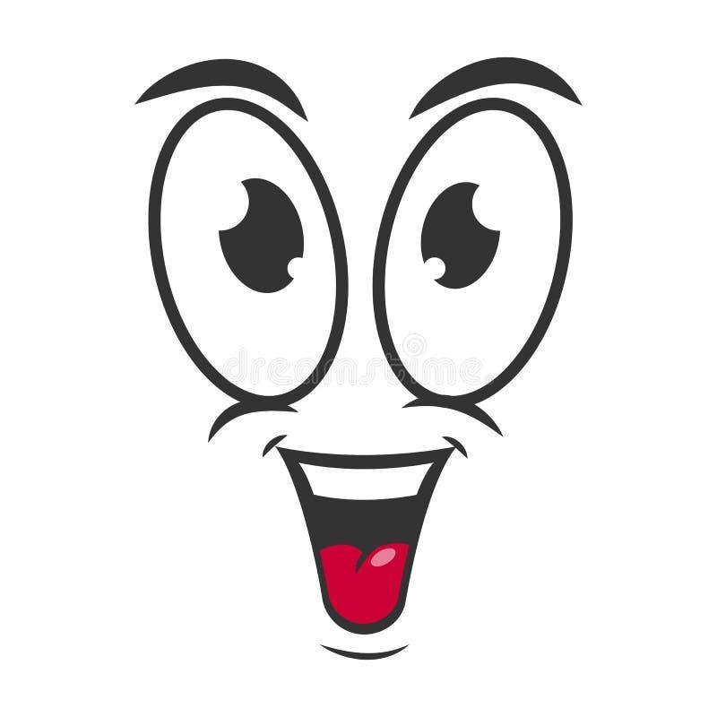 Lycklig design för sinnesrörelsesymbolslogo Enkel glad tecknad filmframsida royaltyfri illustrationer