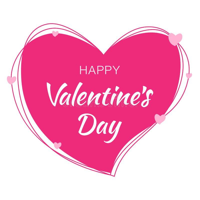 Lycklig design för valentindagkort Den rosa hjärtakonturn från klottrar linjer och vit bakgrund med rosa hjärtor stock illustrationer