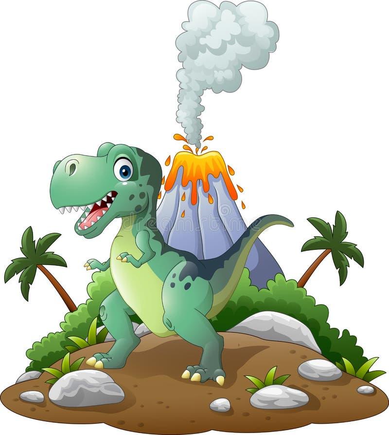 Lycklig dinosaurie för tecknad film i den förhistoriska bakgrunden stock illustrationer