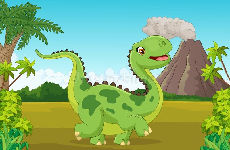 Lycklig dinosaurie för tecknad film med berget royaltyfri illustrationer