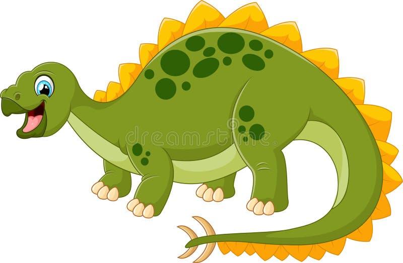 Lycklig dinosaurie för tecknad film med vit bankground royaltyfri illustrationer