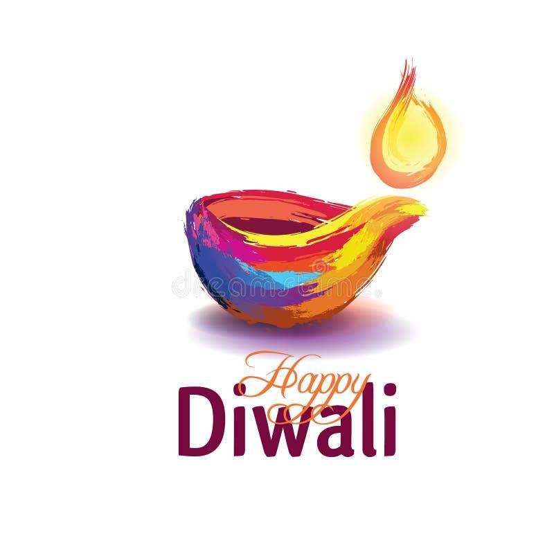 Lycklig diwali för vektorillustration royaltyfri illustrationer