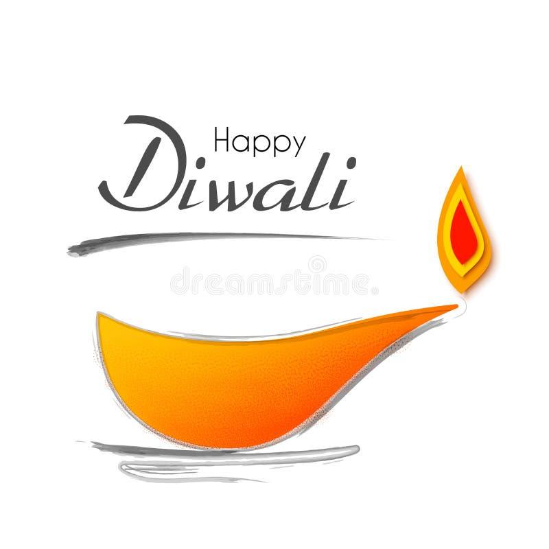 Lycklig Diwali feriebakgrund för ljus festival av Indien Vektorillustration på temat av det traditionellt stock illustrationer