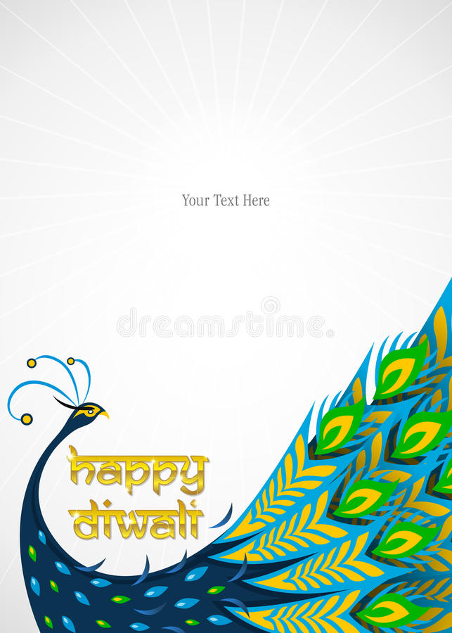Lycklig diwalipåfågelkant stock illustrationer