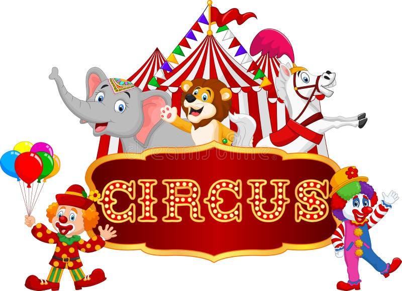 Lycklig djur cirkus för tecknad film med clownen på karnevalbakgrunden stock illustrationer
