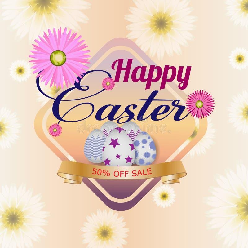 Lycklig easter bakgrundsmall med härliga blommor, bandet och ägg greeting lyckligt nytt år för 2007 kort vektor illustrationer