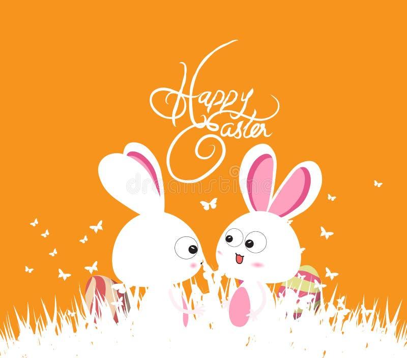 Lycklig easter gräsplanvår med kaninpar och ägg stock illustrationer