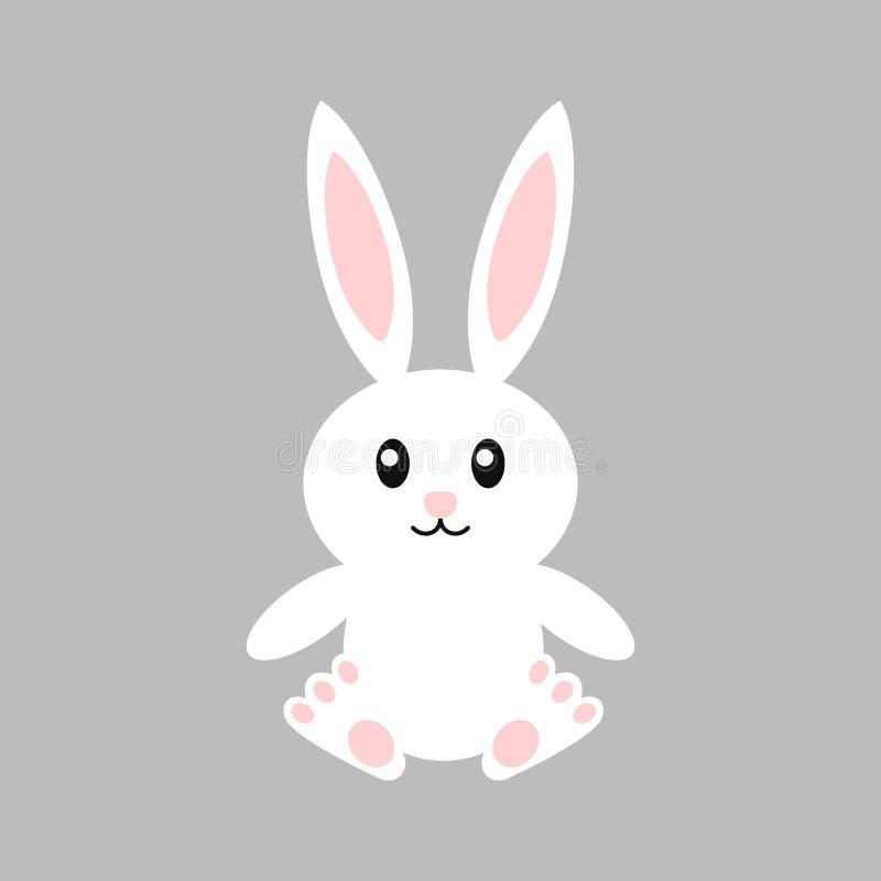 Lycklig easter kanin - vektorillustration gullig kanin Isolerad vit kanin cartoon stock illustrationer