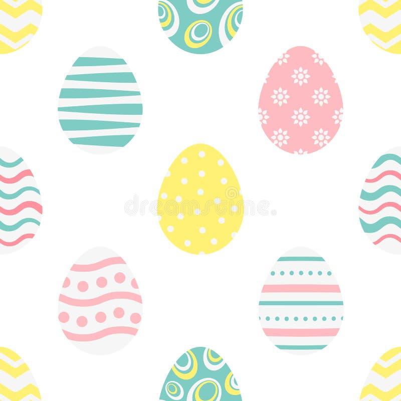 Lycklig easter sömlös modell med stiliserade färgrika ägg på en vit bakgrund Ändlös textur för vårdesignen, garnering, royaltyfri illustrationer