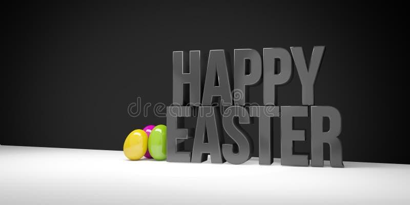 Lycklig easter svart satte en klocka på, och ägg 3d framför vektor illustrationer