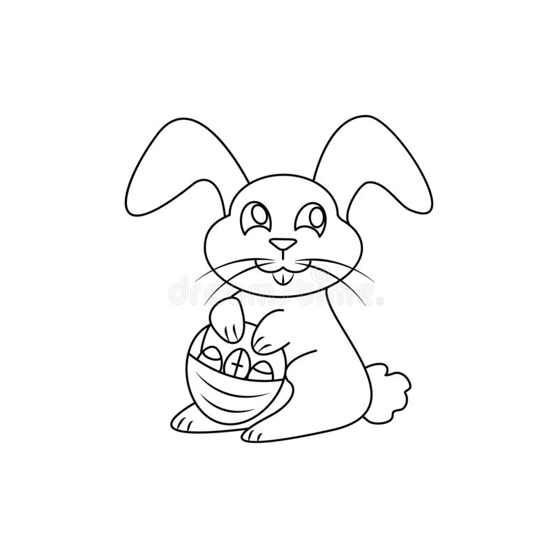 Lycklig easter symbolseaster hare eller kanin stock illustrationer
