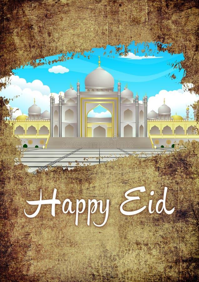 Lycklig Eid Brush The Dirt Ramadhan elegant Grunge och guldhälsningkort med moskébilden royaltyfri illustrationer