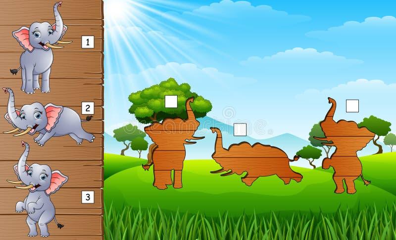 Lycklig elefantsamling för tecknad film Finna den korrekta skuggan Bildande lek för barn vektor illustrationer