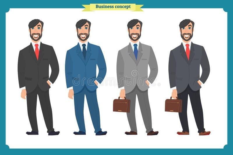 Lycklig elegant affärsman i dräkt Stående person isolerad man för bakgrund affär över white stock illustrationer