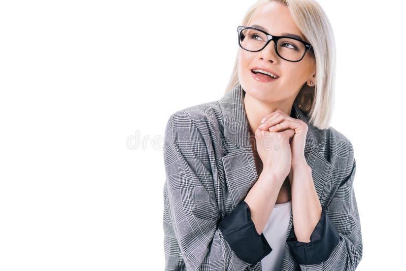 lycklig elegant kvinna i glasögon, royaltyfri fotografi
