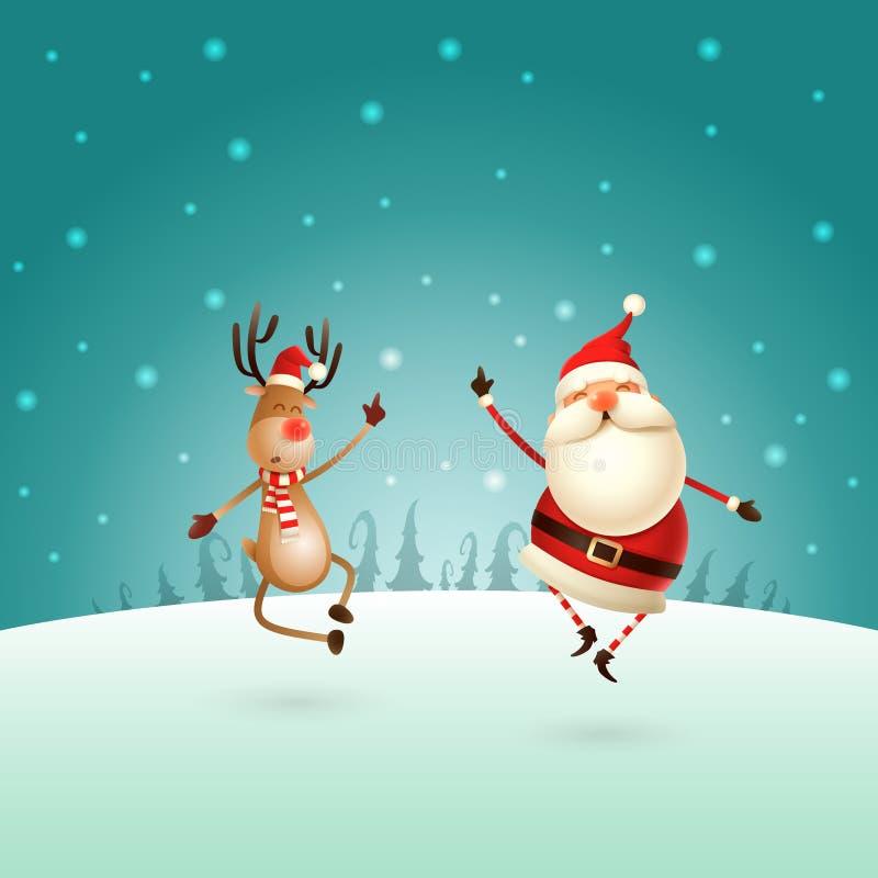 Lycklig expresion av Santa Claus och renen - dem rak banhoppning upp och att komma med deras häl som tillsammans claping högert u royaltyfri illustrationer