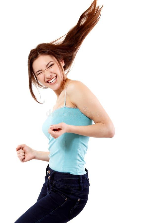 Lycklig extatisk göra en gest framgång för vinnande tonårig flicka. royaltyfria foton