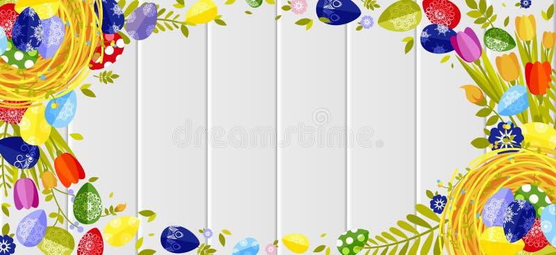Lycklig färgade ägg för påsk bakgrund, vårgarnering, tjänstledighet, beståndsdel för tulpanblommadesign i plan stil stock illustrationer