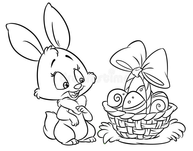 Lycklig färgläggning för påskkaninen söker tecknad filmillustrationen vektor illustrationer