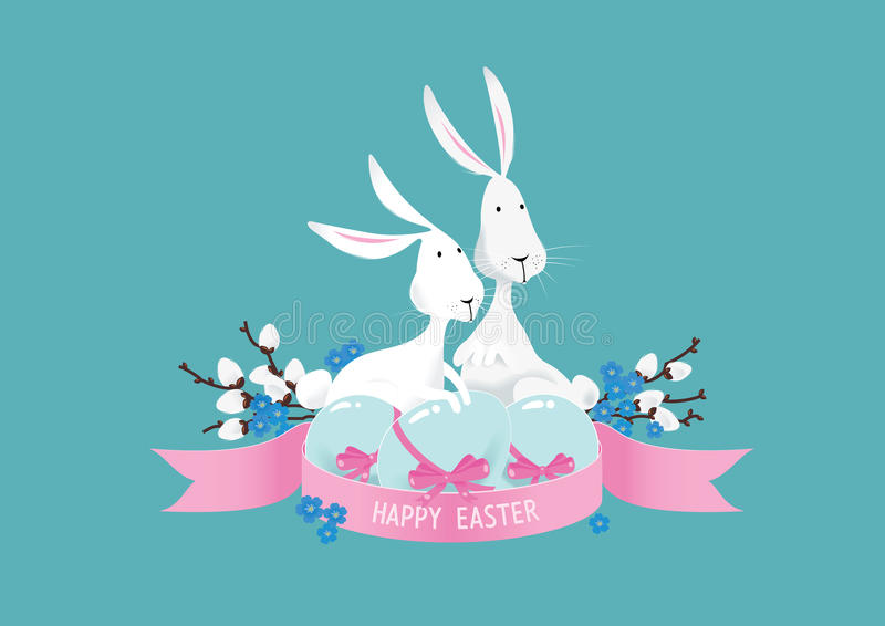 Lycklig färgrik vektor för sammansättning för easter kaniner royaltyfri illustrationer