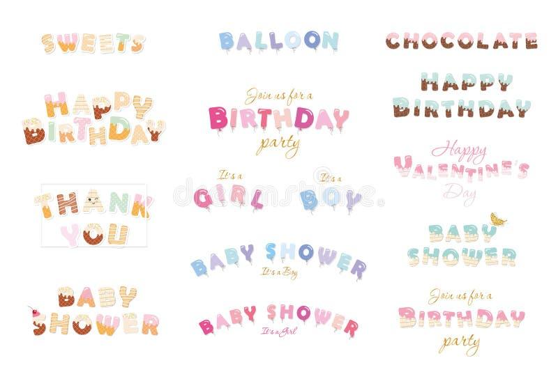 Lycklig födelsedag, baby shower, dag för valentin s Sött ballong, chokladbokstäver Stor uppsättning för festliga inskrifter som i royaltyfri illustrationer