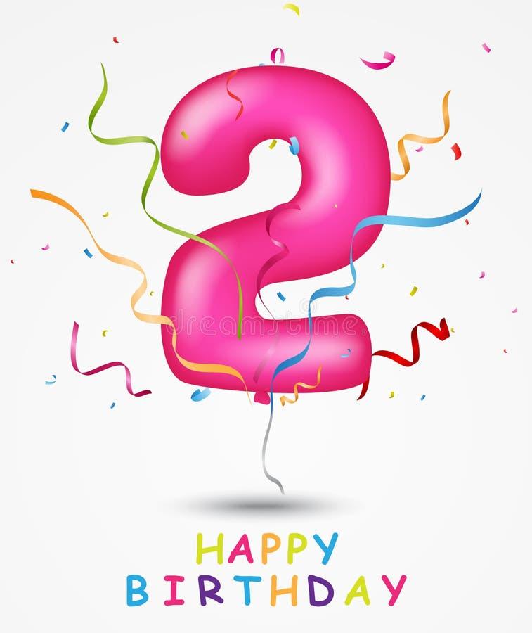Lycklig födelsedag, berömhälsningkort med nummer och text royaltyfri illustrationer